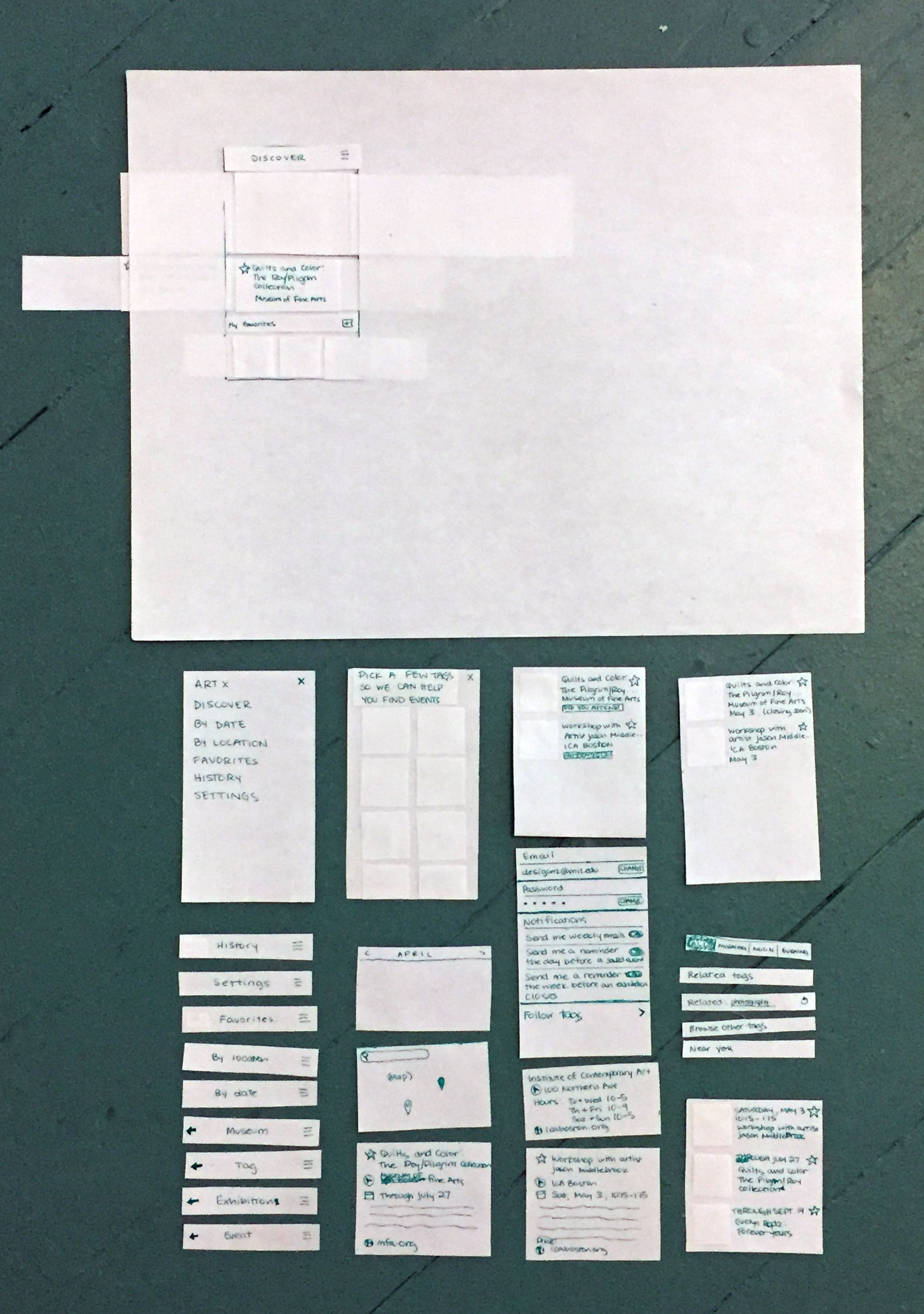 Bird's eye view of paper prototypes of different interface elements