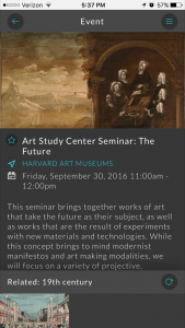 "Screenshot of an Artbot event page. This image displays a seminar at the Harvard Art Museums' Art Study Center. At the bottom of the screen are links for events related by the tag ""19th century."""