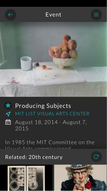 Screenshot of an event page on the Artbot app
