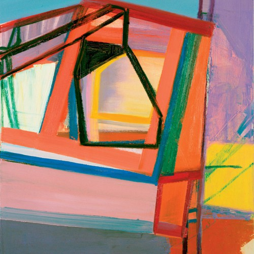 An abstract painting of geometric forms and lines rendered in bright colors and patchy brushstrokes. Artwork credit: Amy Sillman, C, 2007, oil on canvas, 45 by 39 inches; at the Institute of Contemporary Art.