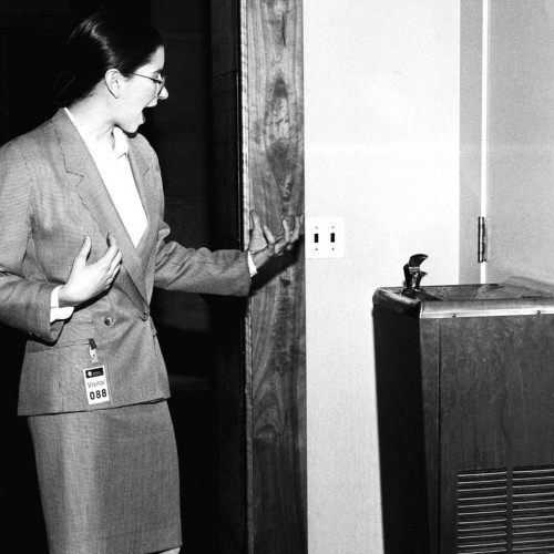 A black and white photograph of a woman dressed in a skirt suit in front of a water fountain, her arms outstretched as if she is giving a tour. This image is still from Andrea Fraser's Museum Highlights: A Gallery Talk, 1989. Courtesy of the artist and Friedrich Petzel Gallery, New York.