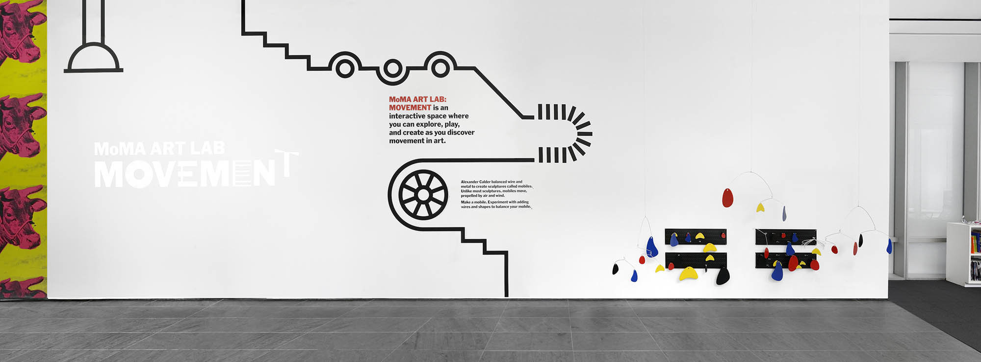 Panoramic shot of MoMA Art Lab, which includes a Calder mobile activity