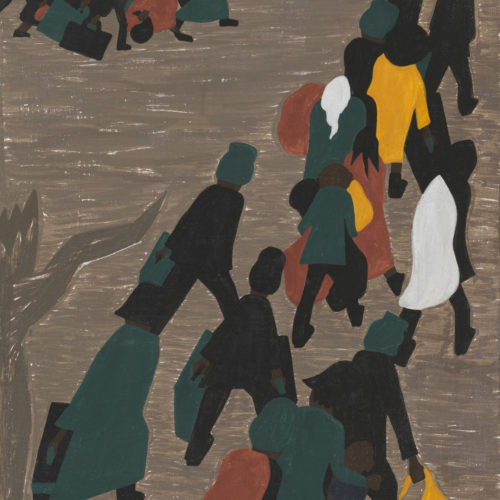 In this casein tempera painting by Jacob Lawrence, groups of shadowy black figures hurry across a barren landscape. The figures are abstract, rendered in a few colors.