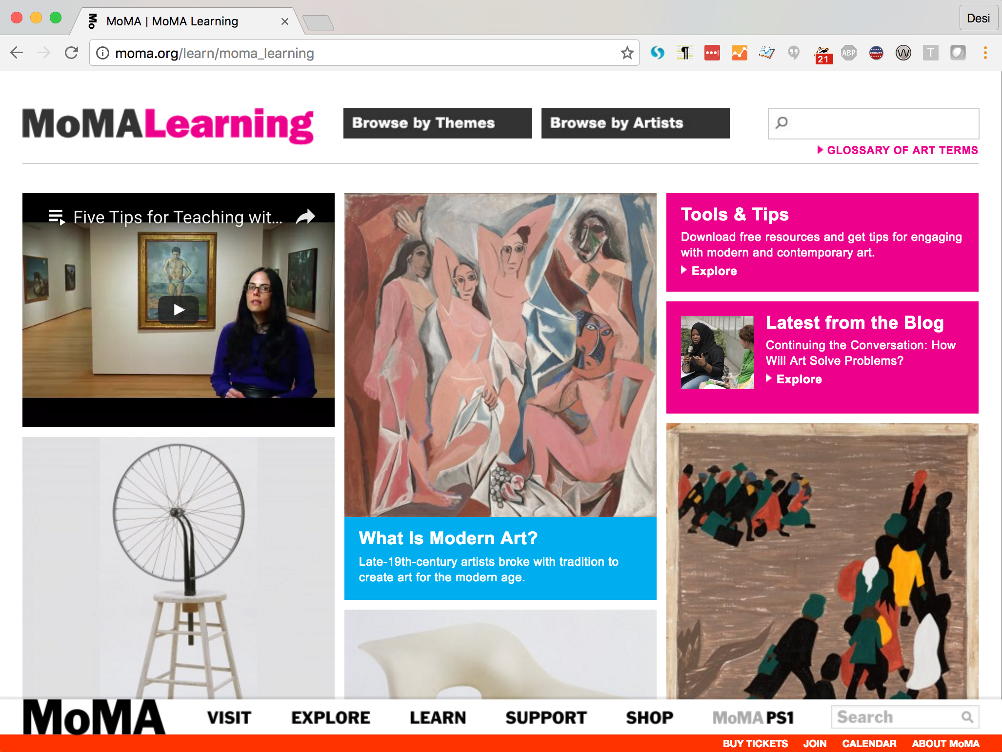 Screen shot of the MoMA Learning website