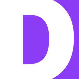 White letter D against a purple background