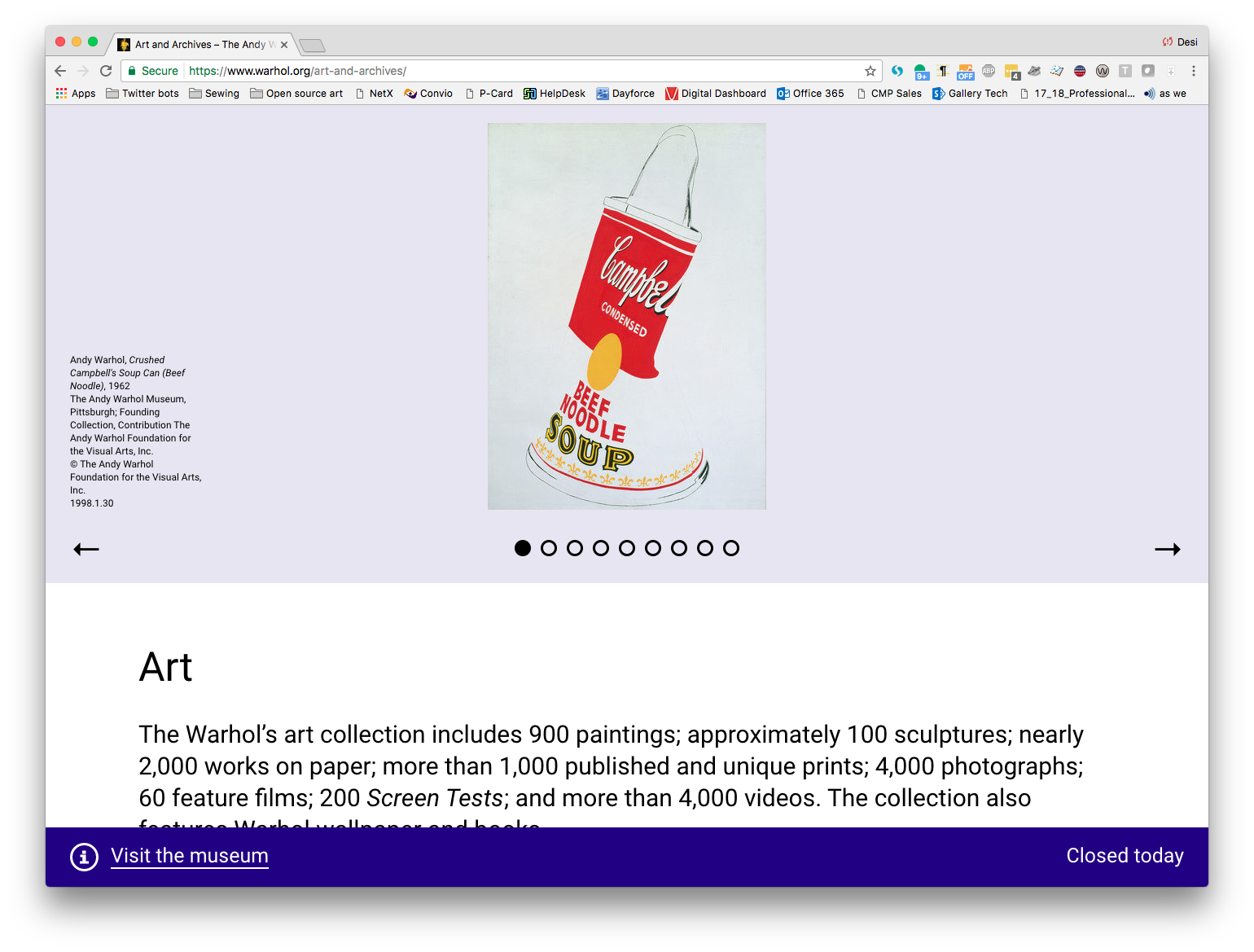 A screenshot of the Art and Archives on warhol.org page, featuring an image of Andy Warhol's painting Crushed Campbell's Soup Can