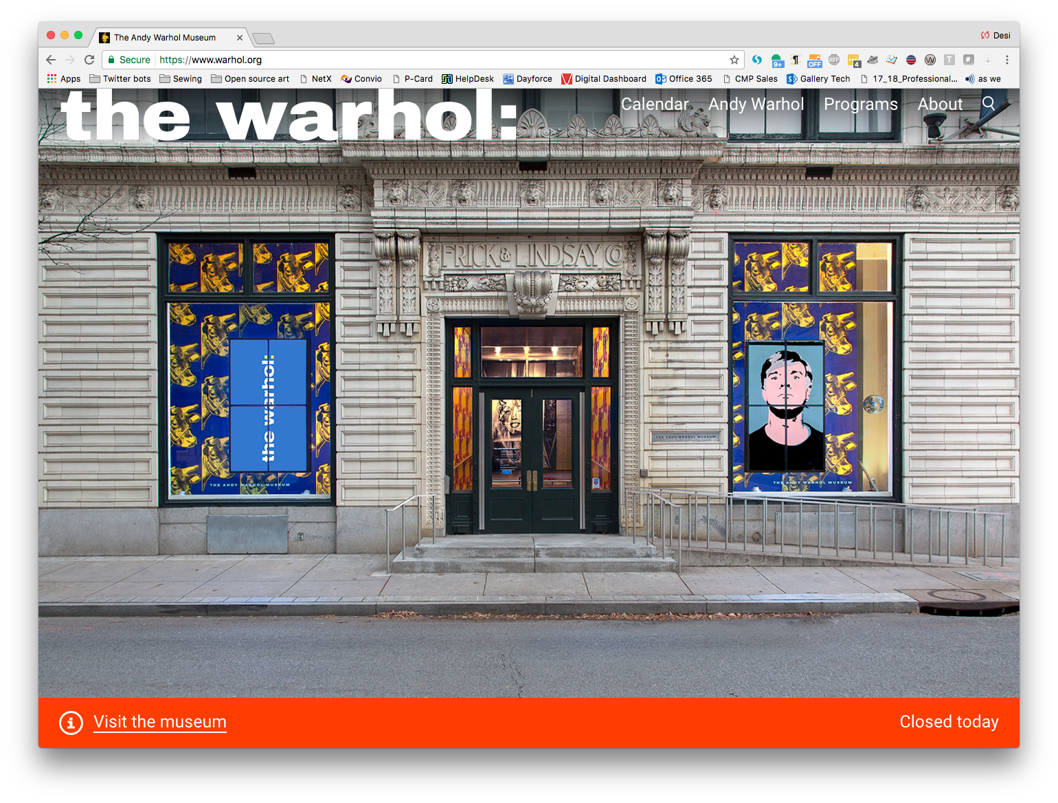 screen shot of the new warhol.org's homepage, which prominently features to the museum's facade.