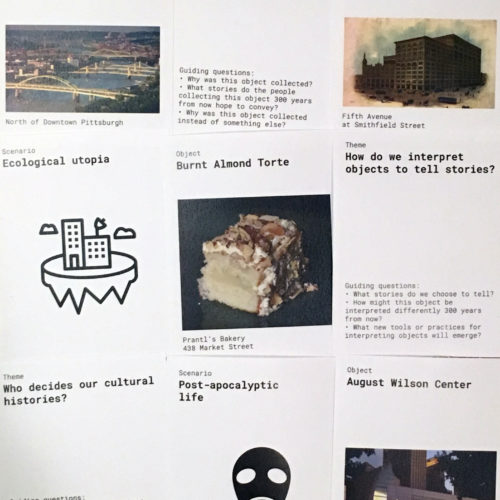 A collage of cards from the Future of Cultural heritage workshop