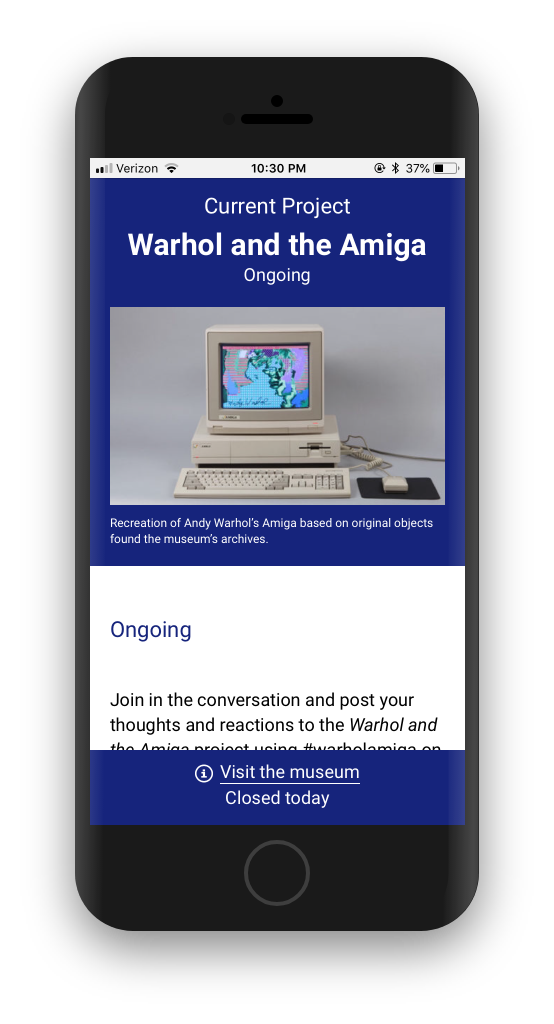 Mobile view of Warhol and the Amiga exhibition page