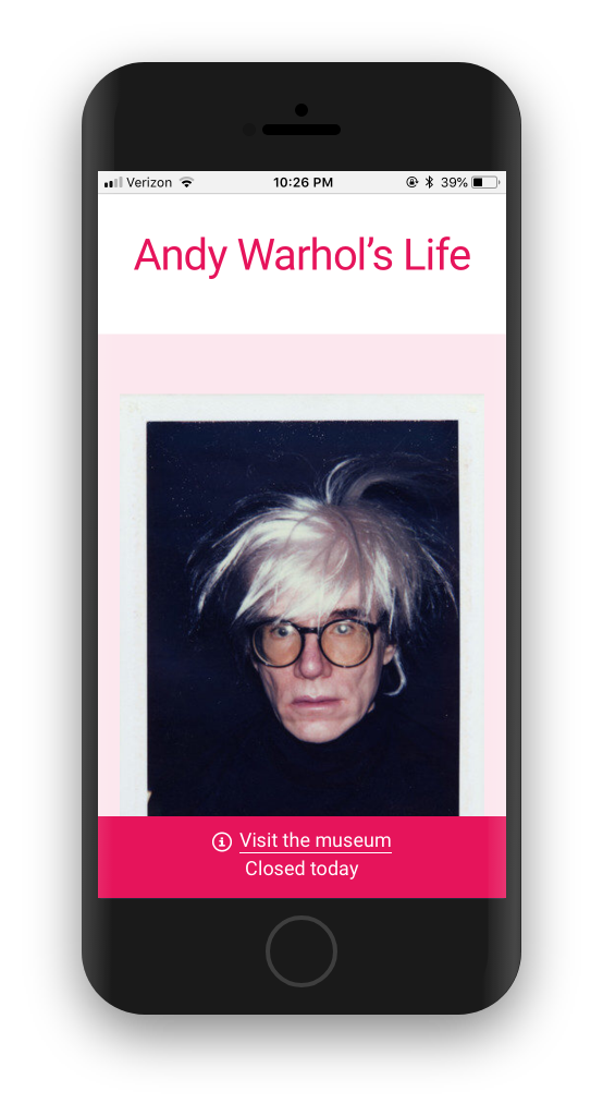 Mobile view of Andy Warhol's Life page