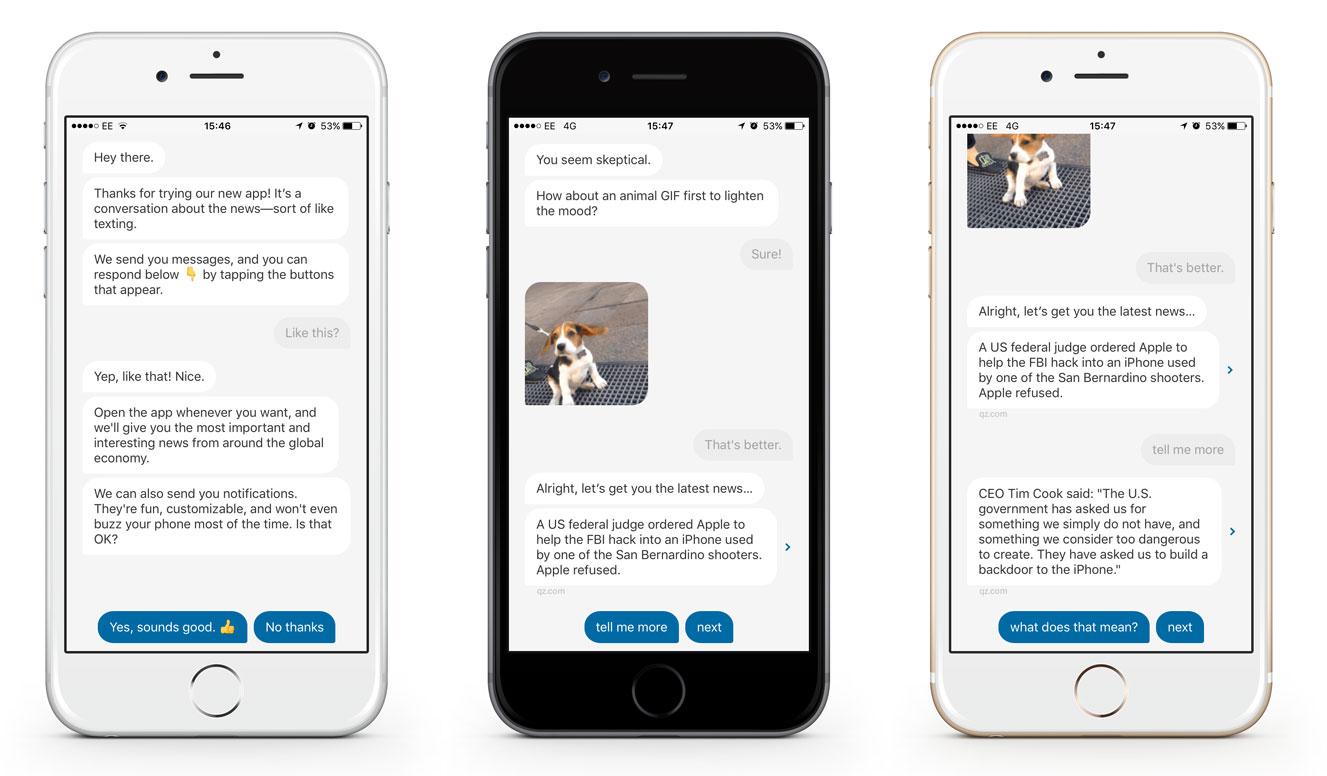 3 iOS devices opened to Quartz's conversational news app